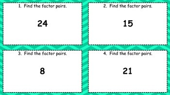 Factor Pairs Task Cards