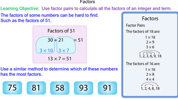 Factor Pairs of Numbers and Terms Grade 6 Math Lesson