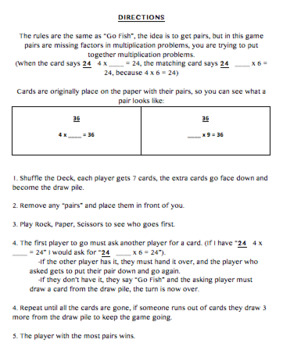 Factor Pairs to 100 Go Fish Game Determining Unknown Whole Numbers Go Fish
