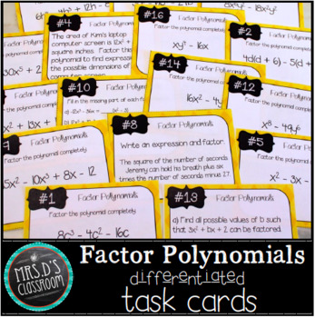 Factor Polynomials Differentiated Task Cards