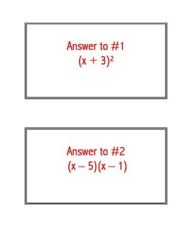 Factor Practice Cards a = 1