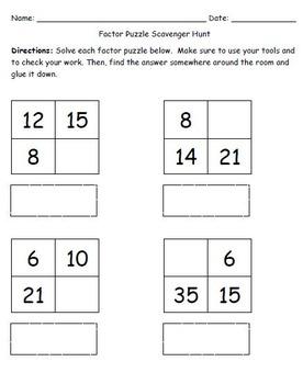 Factor Puzzle (Proportions) Scavenger Hunt