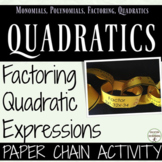 Factor Quadratic Equations Paper Chain Activity