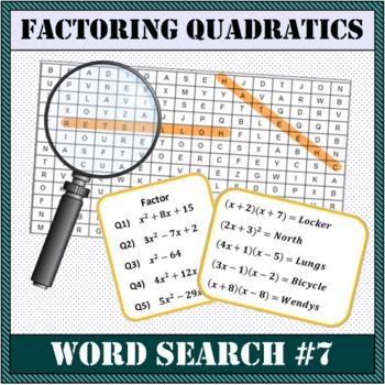 Factor Quadratics WORD SEARCH!
