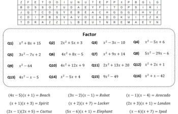 Factoring Quadratics Word Search #7