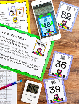 Factor Race Game and Mini Lesson for Finding Factors (Includes QR Codes)