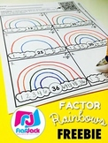 Factor Rainbows QR Code Math Worksheet FREEBIE (Spanish, too)