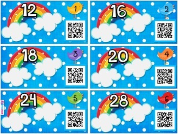 Factor Rainbows QR Code Task Cards (Spanish, too)