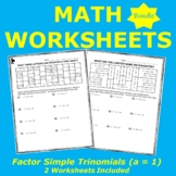 Factor Simple Trinomials (a = 1) Riddle & Coloring Workshe