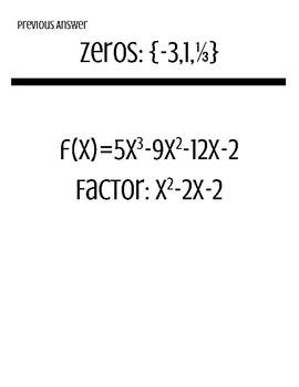Factor & Solve Polynomials Scavenger Hunt
