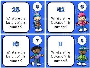 Winter Math - Factor Task Cards (4th Grade)