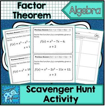 Factor Theorem Scavenger Hunt Activity