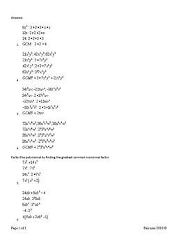 Factor Trinomials  MA.912.T.3.2  MA.912.A.4.3
