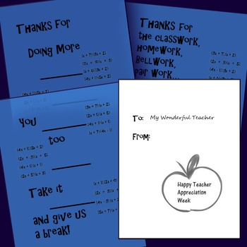Factor Trinomials a>1 Teacher Appreciation Cards
