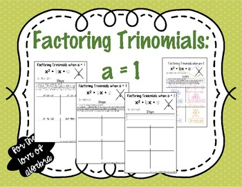 Factor Trinomials when a=1