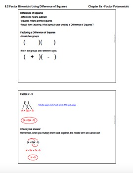 Factor Binomials Using Difference of Squares (Lesson Plan with Homework)