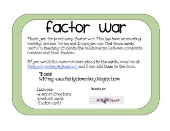 Factor War Card Game