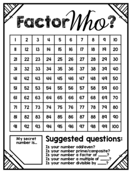 Factor Who? A Factors, Multiples & Primes Math Game