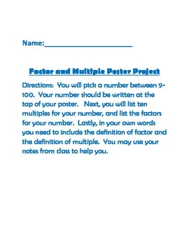 Factor and Multiple Poster Project