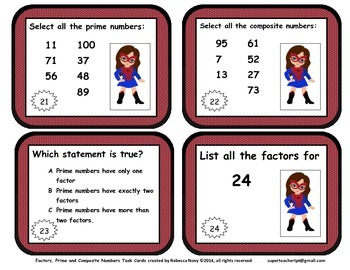 Factor and Prime and Composite Numbers Task Cards