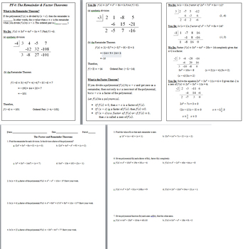 Factor And Remainder Theorem Notes Worksheet Answer Key By
