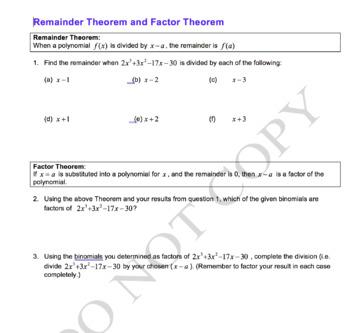 Factor and Remainder Theorem Worksheet
