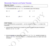 Factor and Remainder Theorem Worksheet
