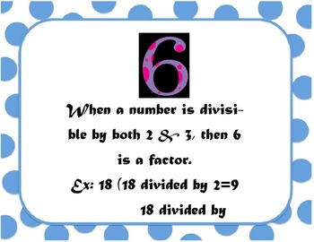 Factor and/or Divisibility Rules
