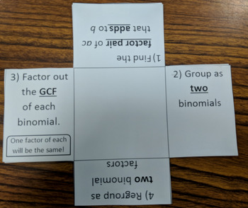 Factor by Grouping Foldable