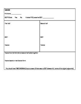 Factor by Grouping Graphic Organizer