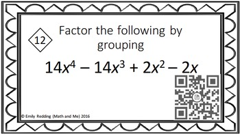 Factor by Grouping QR Code Activity