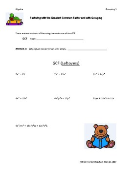 Factor by Grouping and Greatest Common Factor Guided Notes and Answer Key
