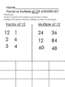 Factor or Multiple? {Cut and Sort!}