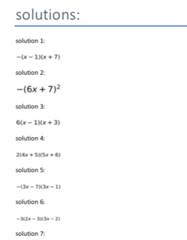 Factor the following (quadratic) expression (Trinomials: 50 Questions)