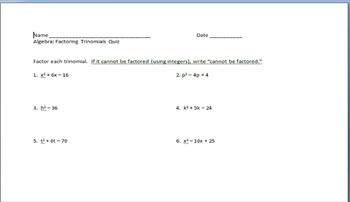 Factor trinomials quiz