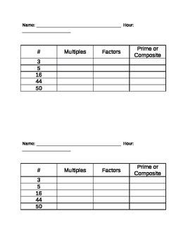 Factor/Multiple Short Quiz (half sheet)