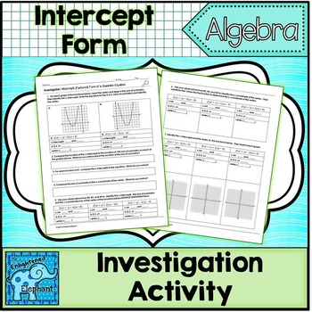 Factored Form Intercept Form of a Quadratic Equation Investigation