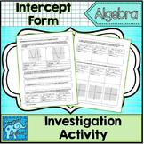 Factored Form Intercept Form of a Quadratic Equation Inves