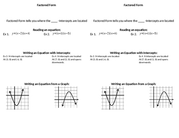 Factored Form of Quadratic Functions Guided Notes