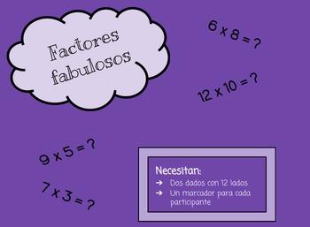 Factores fabulosos: Juego de multiplicar