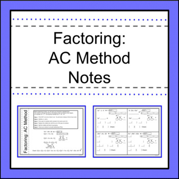 factoring ac method notes by activities by jill tpt