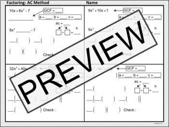 Factoring: AC Method Notes