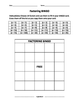 Factoring Activities and Puzzles