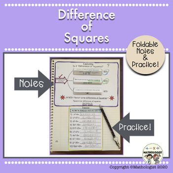 Difference Of Squares Factoring Worksheet Teaching Resources