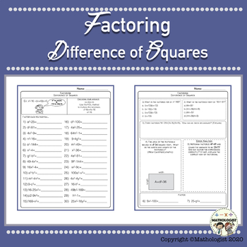 Factoring, Algebra, Difference of Squares Worksheets