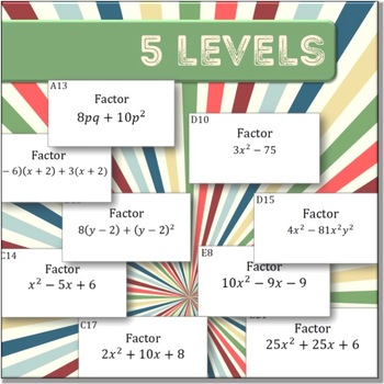 Factoring (Algebra: TEAM CHALLENGE task cards)