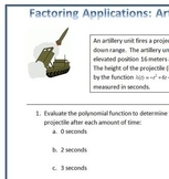 Factoring Applications: Artillery Battery, A Real World Factoring Activity