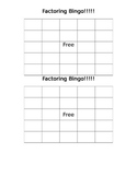 Factoring Bingo Card for Students