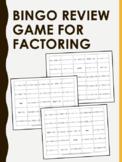Factoring Bingo Review Game