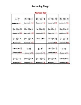 Factoring Bingo